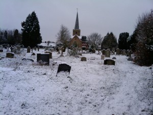 St. Mary's Church grave yard during winter snow, December 2012