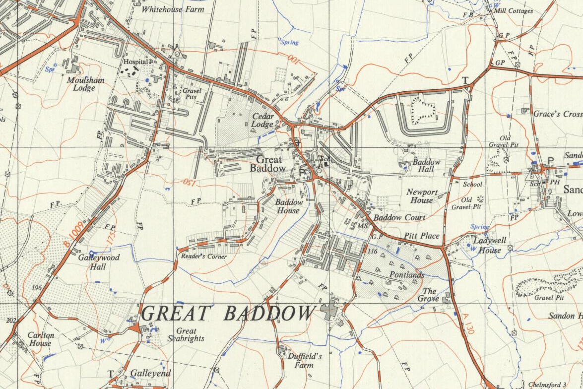 Great Baddow map 1958 - Ordnance Survey
