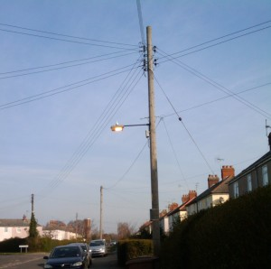 Baddow street lamp still on