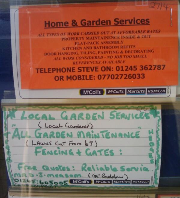 Gardener ads seen in Martin's newsagent window, March 2014