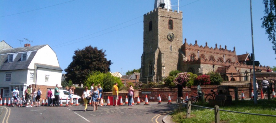 The final mile of the race past St Mary' Church. 18th May 2014