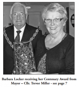 Barbara Locker receiving her Centenary Award from Mayor Cllr Trevor Miller