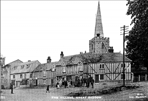 The village green and St. Marys Church in 1916