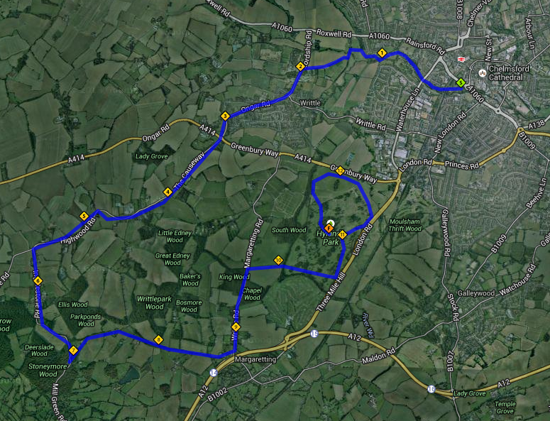 A possible Chelmsford marathon route. N.B. Not the official route. Awaiting confirmation of the exact route.
