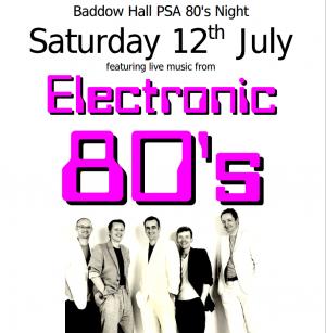 Baddow Hall 80s Night poster