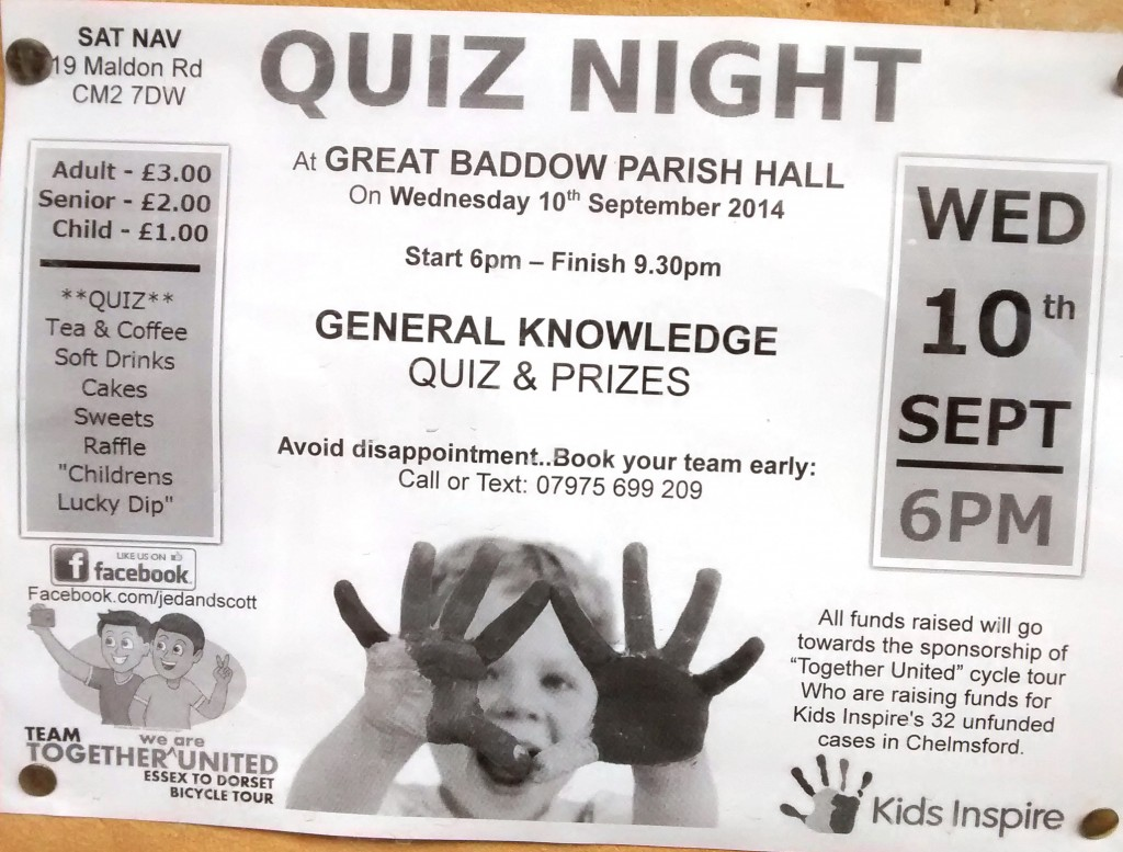 Kids Inspire Baddow Quiz