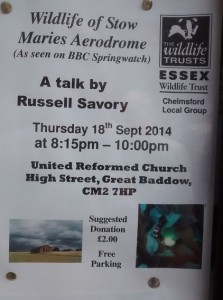 Poster for Stow Maries wildlife talk