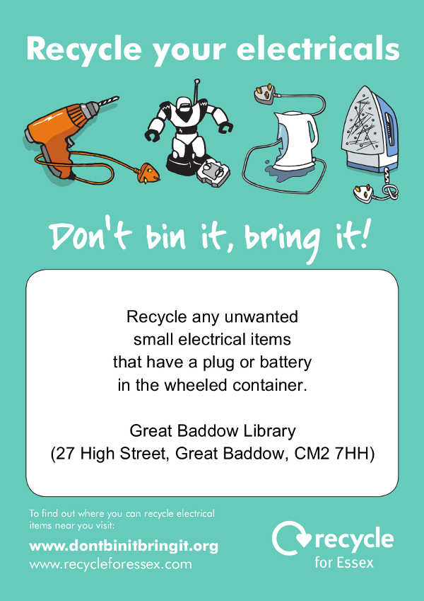 Great Baddow-library weee recycling poster