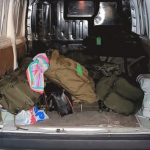 Fishing bags in transit van