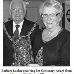 Barbara Locker receiving her Centenary Award from Mayor Cllr Trevor Miller