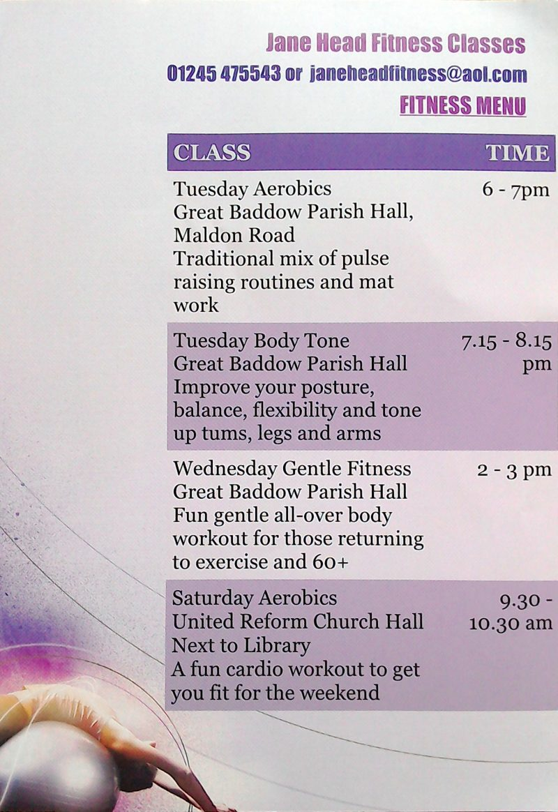 Jane Head fitness class times