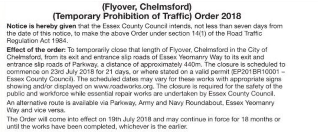 Chelmsford flyover closing